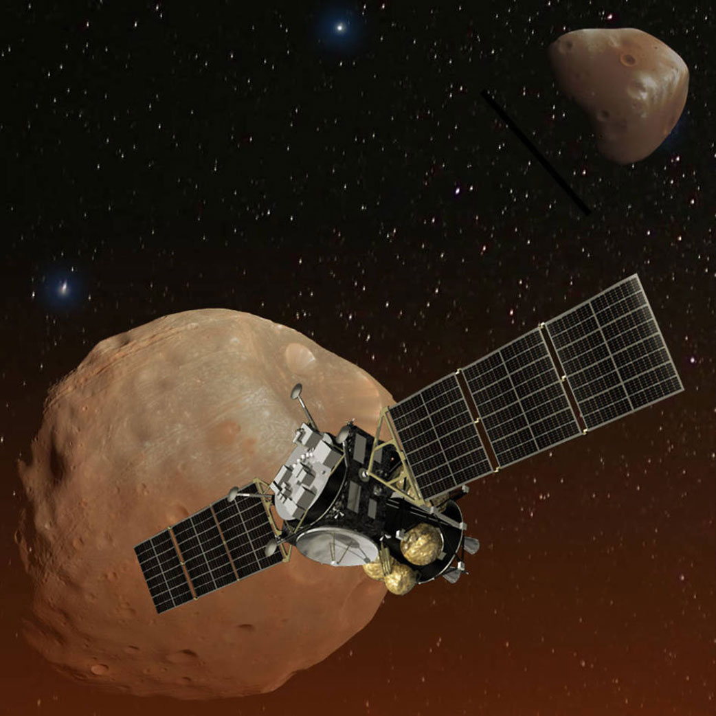Artist's concept of Japan's Mars Moons eXploration (MMX) spacecraft, carrying a NASA instrument to study the Martian moons Phobos and Deimos.